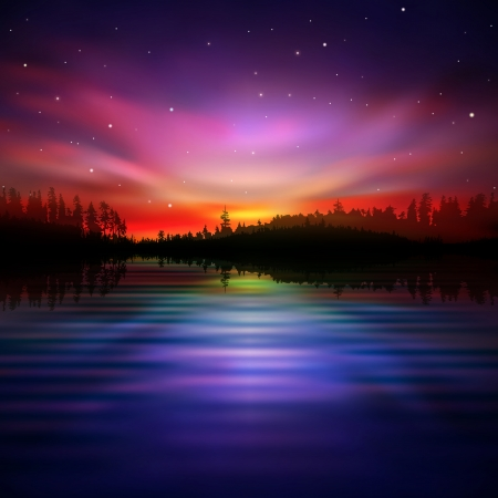 borealis: abstract night nature background with pink aurora borealis