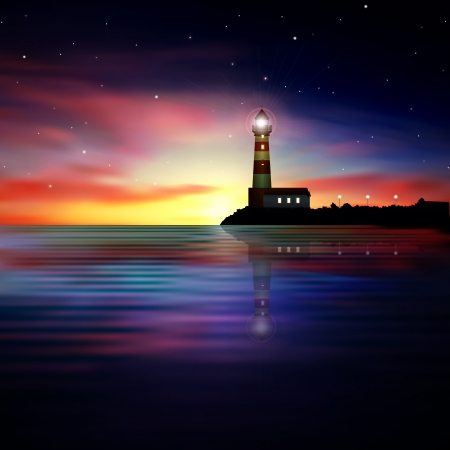 coastlines: abstract nature background with sea sunrise and lighthouse