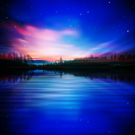 aurora borealis: abstract blue nature background with pink sunrise