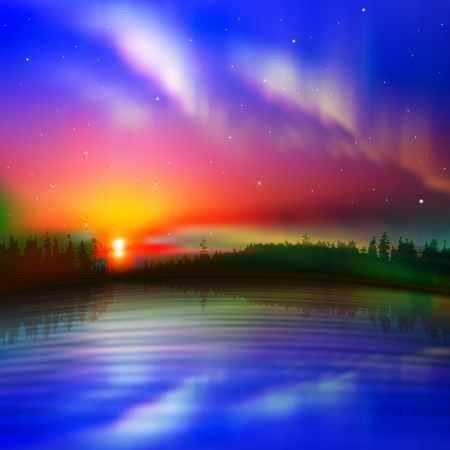 aurora borealis: abstract nature background with aurora and forest