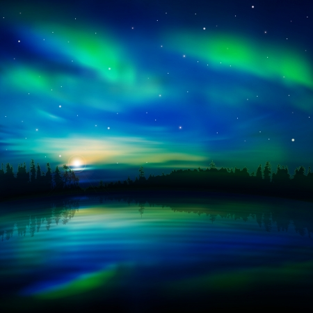 abstract nature background with green aurora and forest Vector