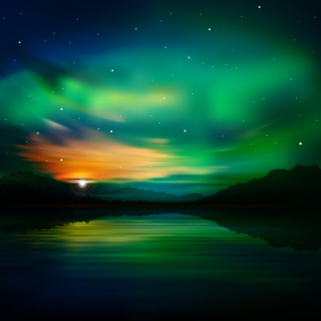 borealis: abstract nature green background with aurora borealis and  mountains