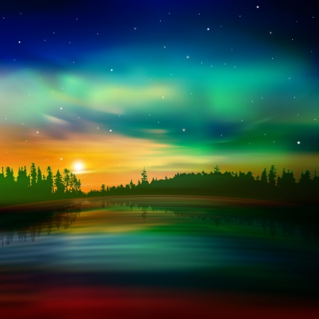 aurora: abstract nature background with forest and green aurora