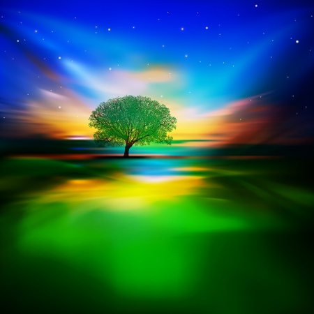 abstract Nature background with night sky and green tree Illustration