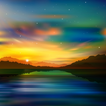 aurora: abstract nature green background with gold sunrise in mountains