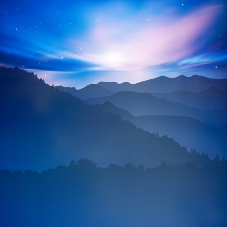 starfield: abstract background with mountains and blue sunset Illustration