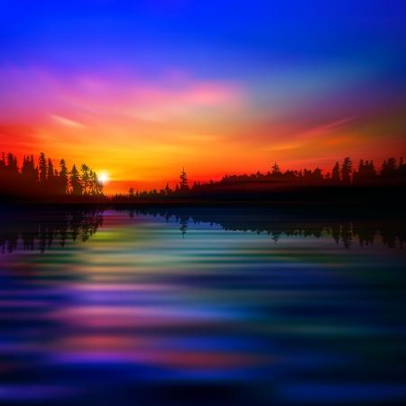 Hintergrund abstrakten Natur mit Wald-See und roter Sonnenuntergang Standard-Bild - 24504019