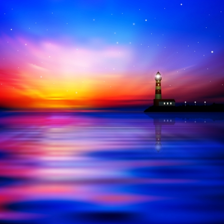 lighthouse at night: abstract nature background with red sunrise and lighthouse