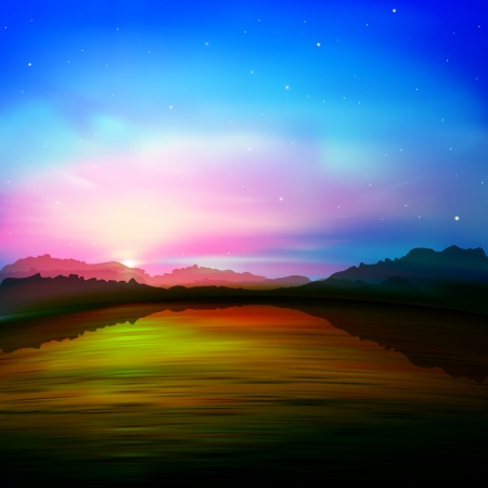 borealis: abstract nature background with sunset in mountains