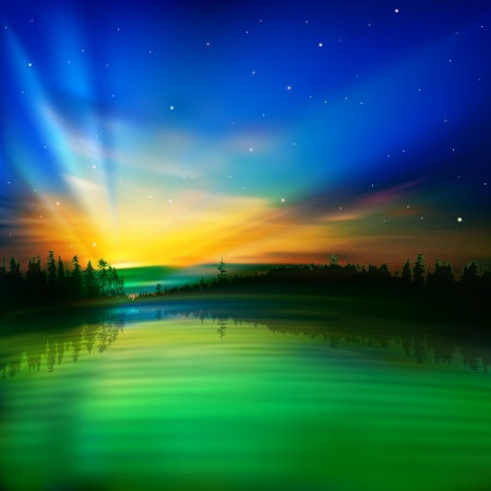 borealis: abstract nature green blue background with sunrise and forest Illustration