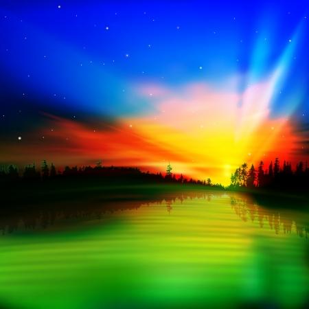 la naturaleza de fondo abstracto con la salida del sol de oro y el bosque