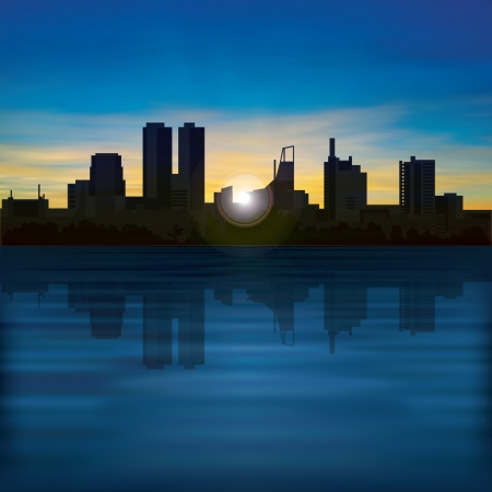 sky line: abstract background with golden sunrise and silhouette of city