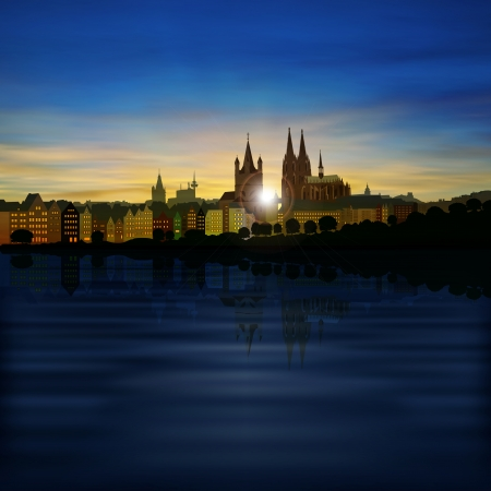 dom: abstract background with silhouette of cologne and sunset Illustration