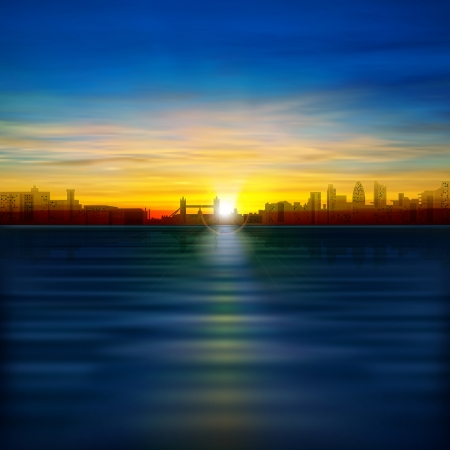 abstract background with silhouette of London and golden sunrise Vector