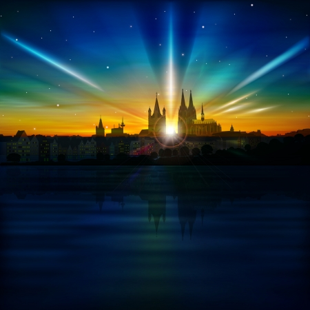 cologne: abstract background with sunset and silhouette of Koln Illustration