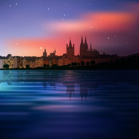 cologne: abstract background with blue sunset and silhouette of Koln