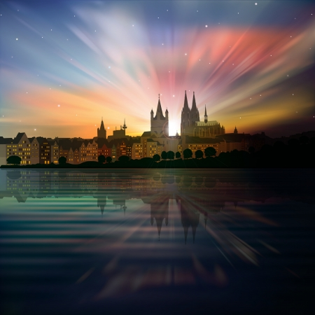 dom: abstract background with sunrise and silhouette of Koln