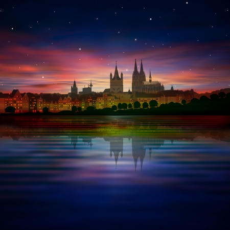dom: abstract background with purple sunset and silhouette of Koln Illustration