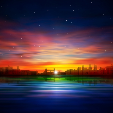 abstract background with silhouette of London and sunset Vector