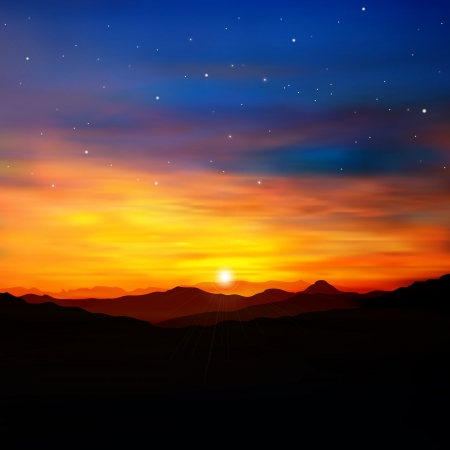 the color of silence: abstract nature background with golden sunrise in mountains and stars