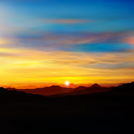 sunrise mountain: abstract nature background with golden sunrise in mountains