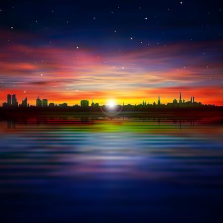 tallinn: abstract stars background with silhouette of Tallinn and purple sunset