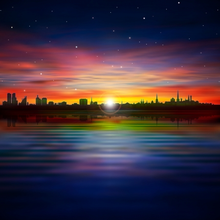 abstract stars background with silhouette of Tallinn and purple sunset