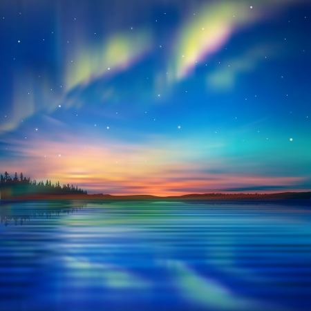 aurora borealis: abstract nature blue with aurora borealis and forest