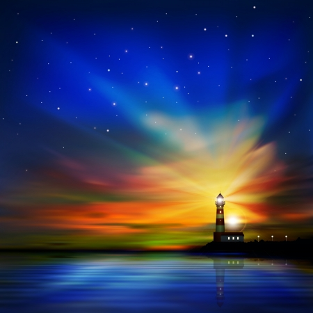 abstract dark sea with lighthouse and sunset