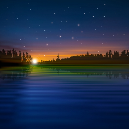 sunset lake: abstract nature with sunset stars and forest lake Illustration