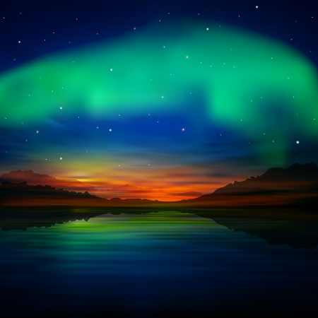 aurora: abstract nature dark blue with aurora borealis and mountains Illustration