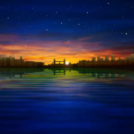 abstract dark blue nature background with silhouette of London and sunset Vector