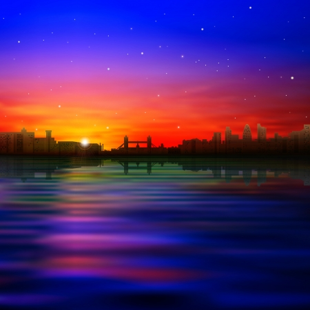 horizon over water: abstract nature background with silhouette of London and pink sunset