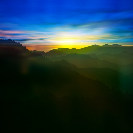 starfield: abstract background with green mountains and sunrise Illustration