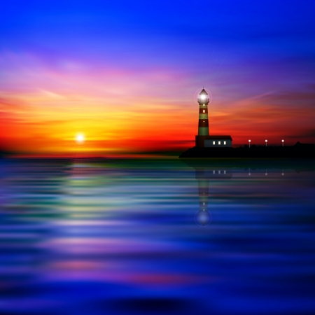 abstract blue sea background with lighthouse and sunrise