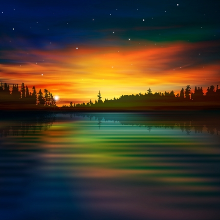 abstract nature background with sunset clouds and forest lake