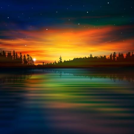doğa arka: günbatımı bulutlar ve orman göl soyut doğa arka plan