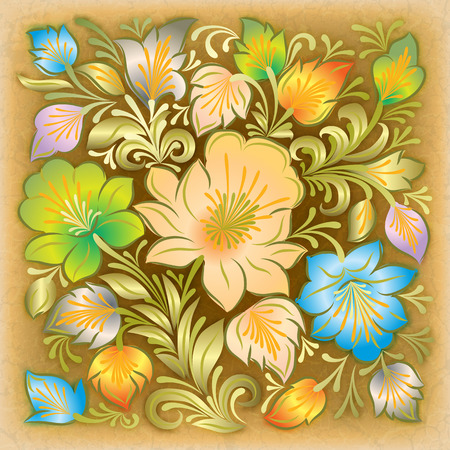 abstract grunge beige background with color floral ornament photo