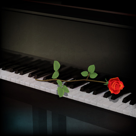 blues music: abstract grunge background with red rose on grand piano