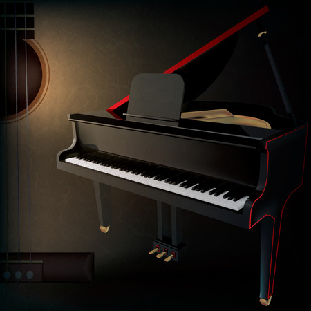 classical guitar: abstract grunge music background with guitar and grand piano on black Illustration
