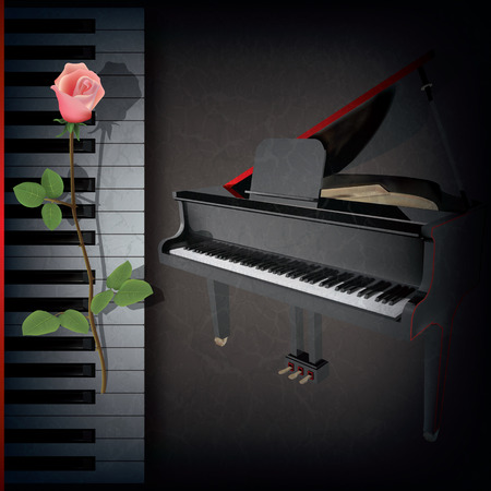 abstract grunge music background with red rose and grand piano on black Vector