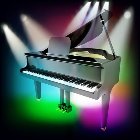 abstract music background with grand piano and spotlights on stage Vector