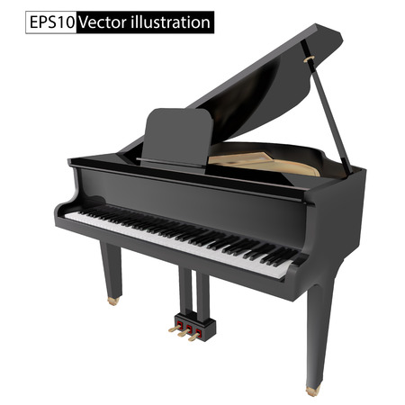 concert grand: vector illustration gand piano isolated on a White background
