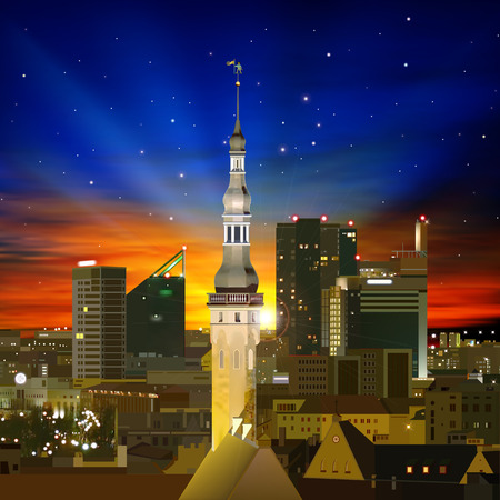 abstract background with Tallinn and golden sunrise Vector