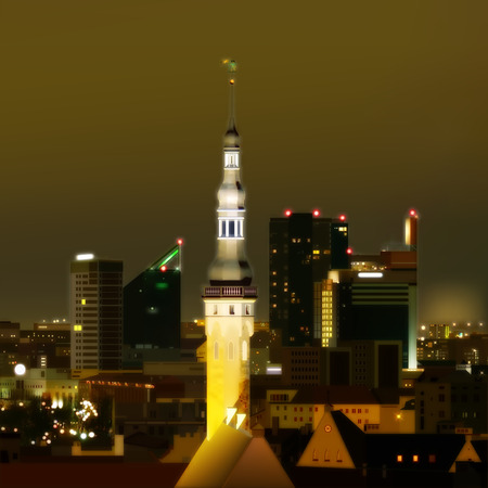 abstract green background with cityscape of Tallinn Vector