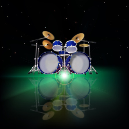 abstract music background with drum kit and green light Vector
