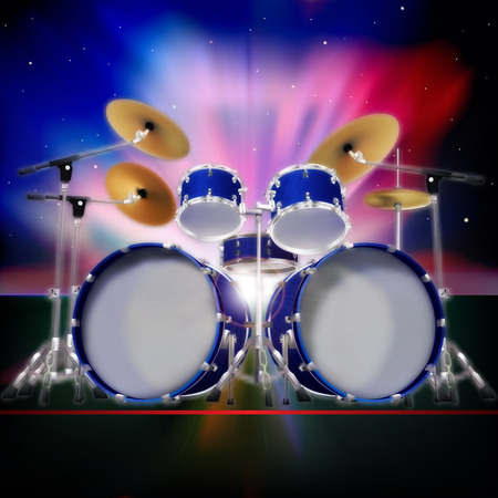 abstract music background with sunrise and drum kit Vector