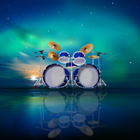 abstract music background with sunrise drum kit and sunrise  Vector
