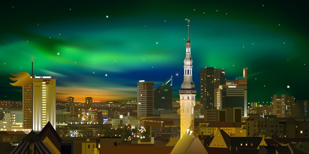 Night illumination cityscape of Tallinn city Estonia Vector