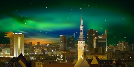 estonia: Night illumination cityscape of Tallinn city Estonia Illustration